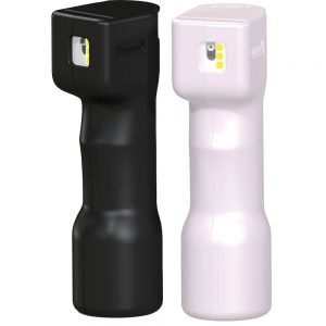 Plegium Combo / Smart Försvarsspray som kombinerar tre effektiva funktioner för avstyra överfall, svart och rosa.